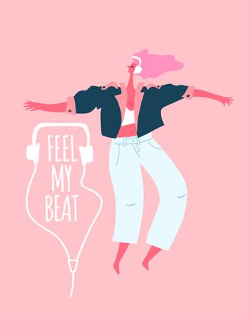 Template di design Stylish Woman dancing in headphones T-Shirt