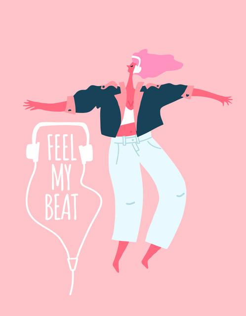 Ontwerpsjabloon van T-Shirt van Stylish Woman dancing in headphones