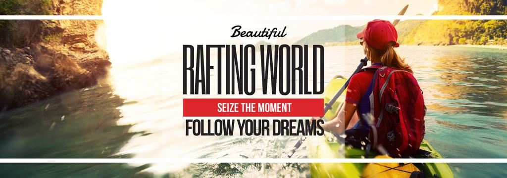 Rafting Tour Invitation with Woman in Boat — Maak een ontwerp