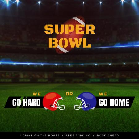 Super Bowl Match Announcement with Rugby Ball on Field Animated Post Design Template
