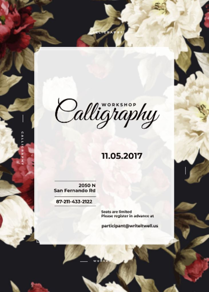 Template di design Calligraphy workshop Annoucement with flowers Flayer