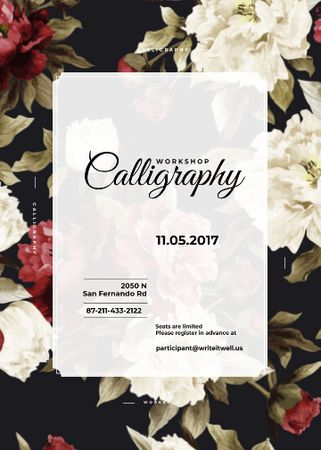 Szablon projektu Calligraphy workshop Annoucement with flowers Flayer