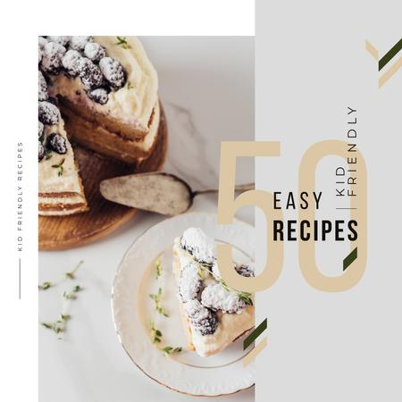 Recipes Guide Sweet Cake with Berries Instagram Tasarım Şablonu
