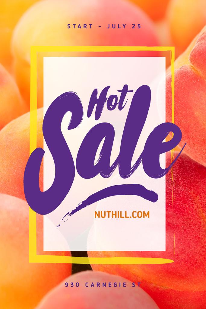 Grocery Sale with Ripe Raw Peaches — Maak een ontwerp