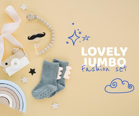 Ontwerpsjabloon van Facebook van Baby Fashion and Toys store ad