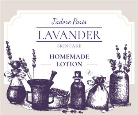 Lavender skincare illustration Large Rectangle Modelo de Design