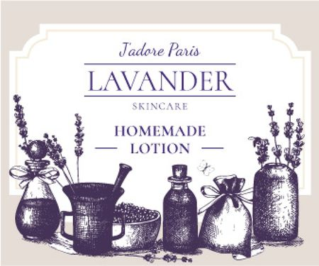 Lavender skincare illustration Large Rectangle – шаблон для дизайна