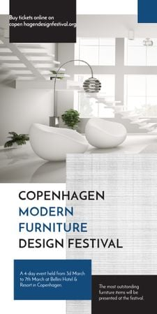 Furniture Festival ad with Stylish modern interior in white Graphic Modelo de Design