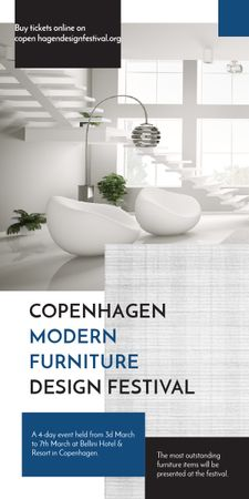 Furniture Festival ad with Stylish modern interior in white Graphic Tasarım Şablonu