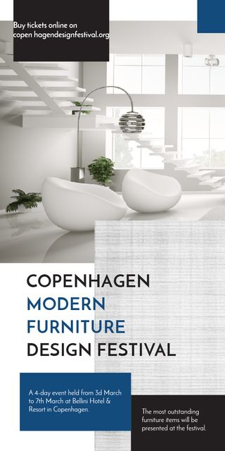 Furniture Festival ad with Stylish modern interior in white Graphicデザインテンプレート