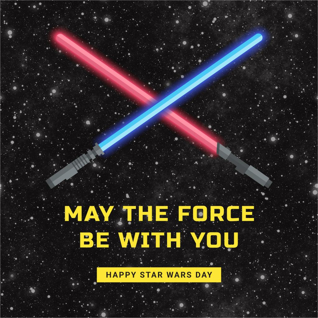 Star Wars Day with Lightsabers on Space — Create a Design