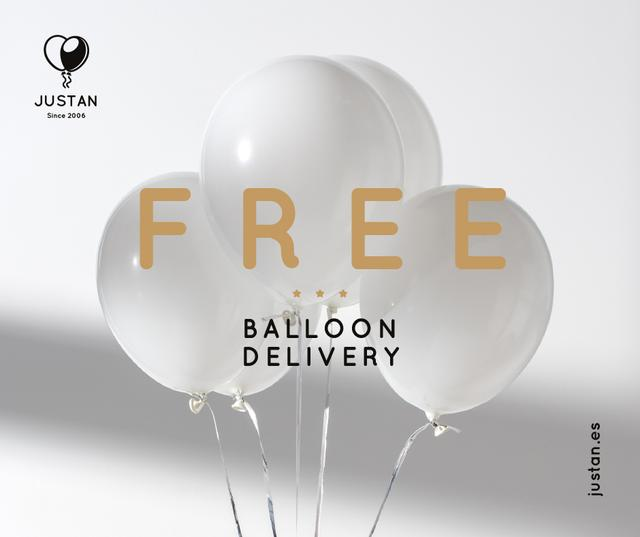 Ontwerpsjabloon van Facebook van Balloons Delivery Services in White