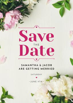 Save the Date Annoucement with Peony Flowers Frame