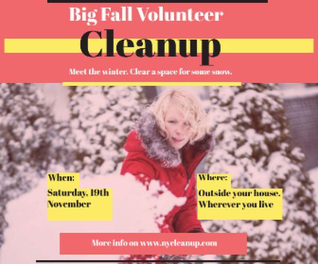 Ontwerpsjabloon van Large Rectangle van Winter Volunteer clean up
