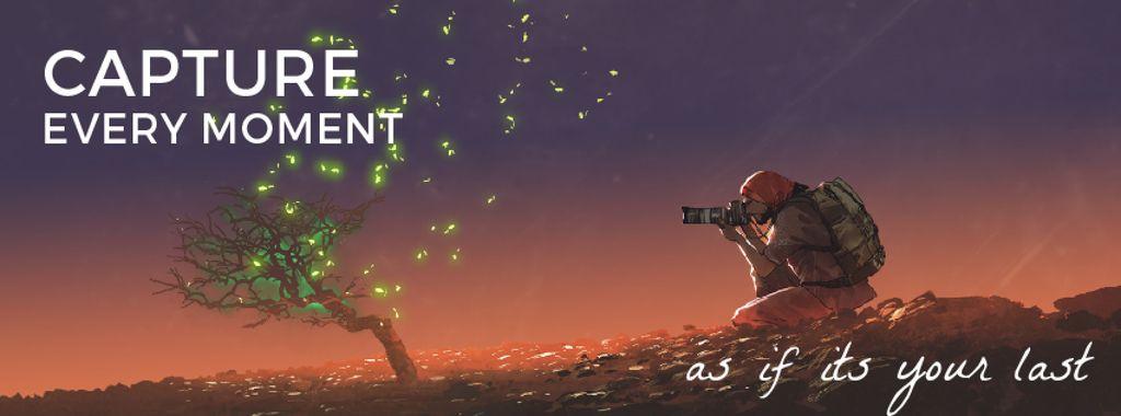 Photographer shooting fireflies — Створити дизайн