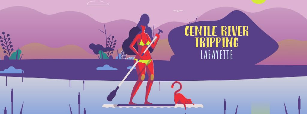 Woman paddleboarding on calm river — Create a Design