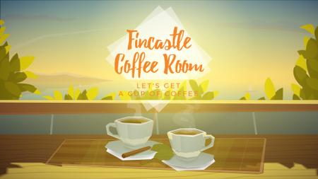 Two cups of coffee by window Full HD video Design Template