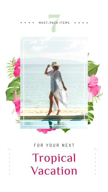 Woman dancing at seacoast Instagram Story Design Template