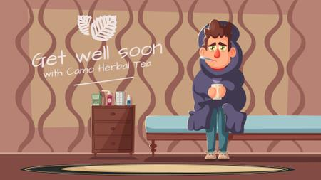 Ontwerpsjabloon van Full HD video van Medication Ad Man Suffering from Flu