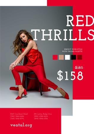 Plantilla de diseño de Woman in stunning Red Outfit Poster