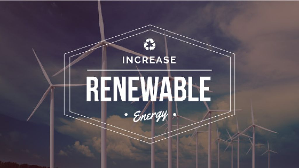 Increase renewable energy poster with wind turbine towers — Maak een ontwerp