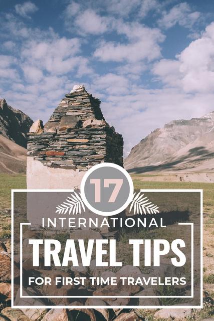 Plantilla de diseño de Travel Tips with Stones Pillar in Mountains Pinterest