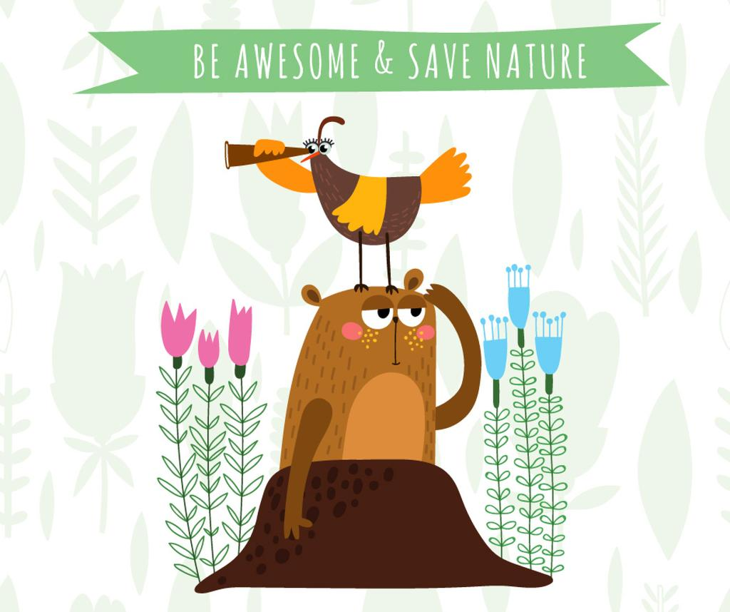 Save nature cartoon poster — Crea un design