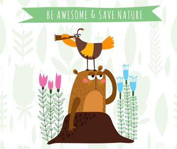 Save nature cartoon poster