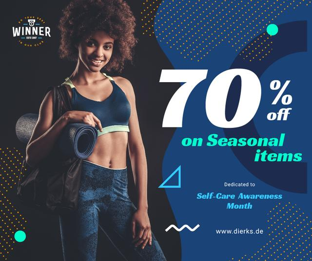 Template di design Self-Care Awareness Month Woman with Gym Equipment Facebook