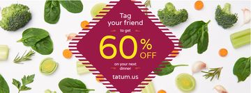 Healthy Dinner Offer with Green Vegetables  | Facebook Cover Template