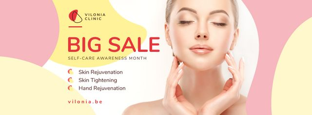 Self-Care Awareness Month Woman with Glowing Skin Facebook cover Design Template