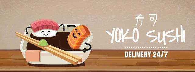 Sushi Menu with Food Bathing in Soy Sauce Facebook Video cover Design Template