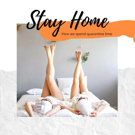 Staying home during Quarantine Photo Book Modelo de Design