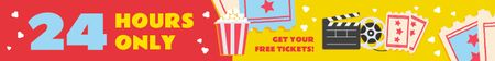 Template di design Cinema Offer Watching Movie on Vintage Film Leaderboard
