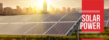 Energy Supply Solar Panels in Rows | Facebook Cover Template