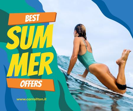 Ontwerpsjabloon van Facebook van Summer Tour Offer Woman on Surfboard