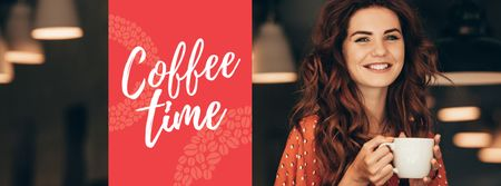 Woman holding coffee cup Facebook cover Modelo de Design