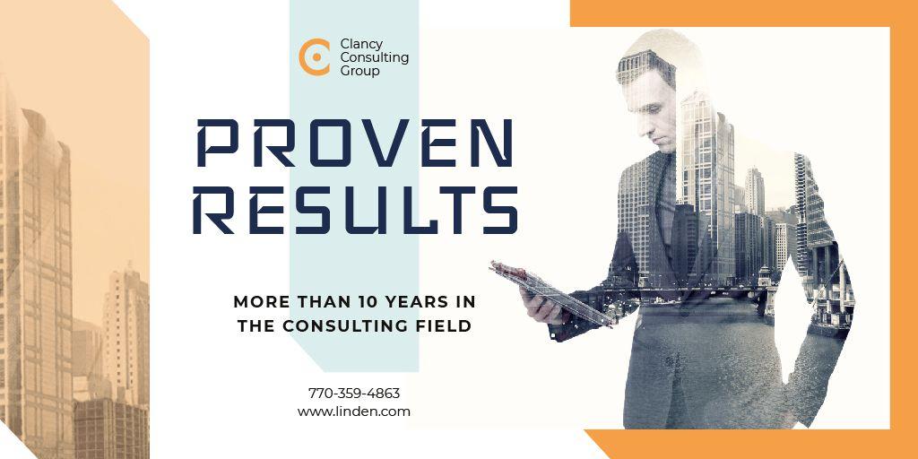 Consulting Company with Businessman on City Background — Crea un design