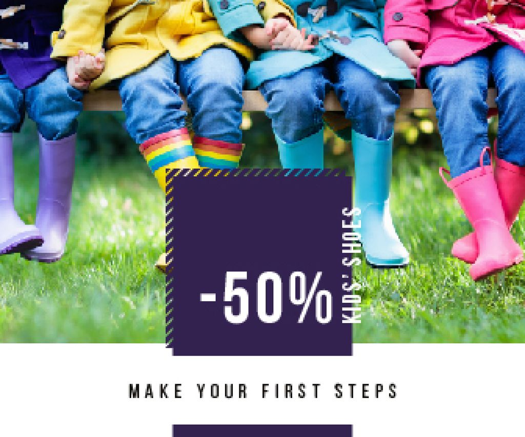 Shoes Sale Kids Wearing Rubber Boots | Large Rectangle Template — Maak een ontwerp