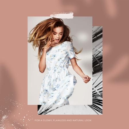 Shop Offer with Woman posing in white Dress Instagram Design Template