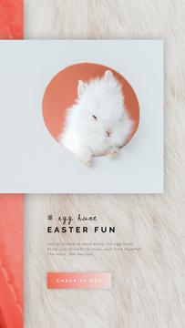 Easter Greeting Cute White Bunny | Vertical Video Template