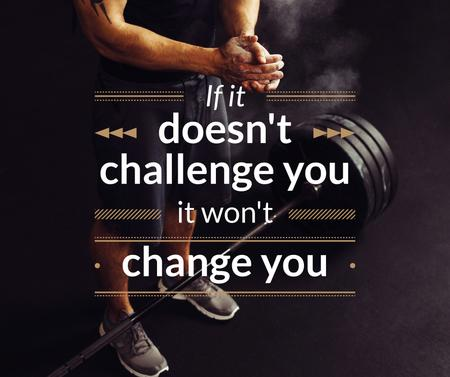 Sports Quote Man Lifting Barbell Facebook Modelo de Design
