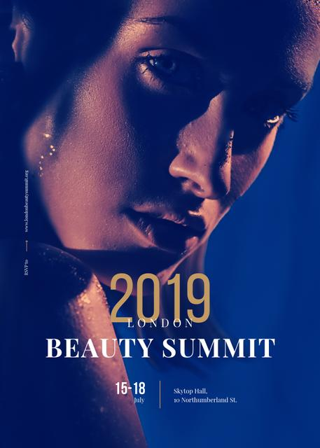 Young attractive Woman at Beauty Summit Invitationデザインテンプレート