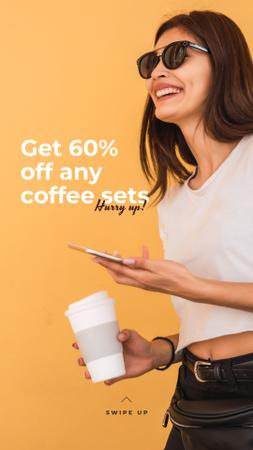 Coffee Shop promotion with happy Woman Instagram Story Modelo de Design