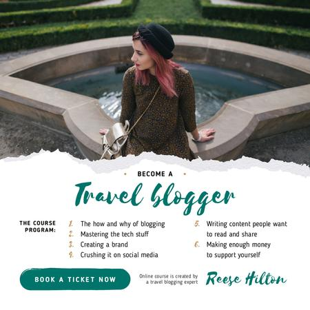 Ontwerpsjabloon van Instagram van Travel Blog Promotion Woman in Scenic Park