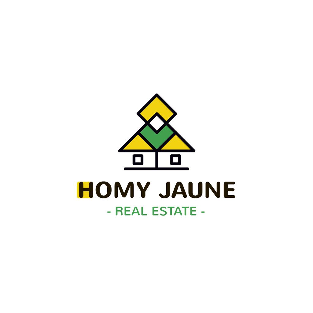 Real Estate Agency Ad with Building Icon in Yellow — Crear un diseño