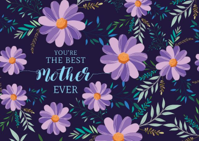 Happy Mother's Day with Flowers in Purple Postcardデザインテンプレート