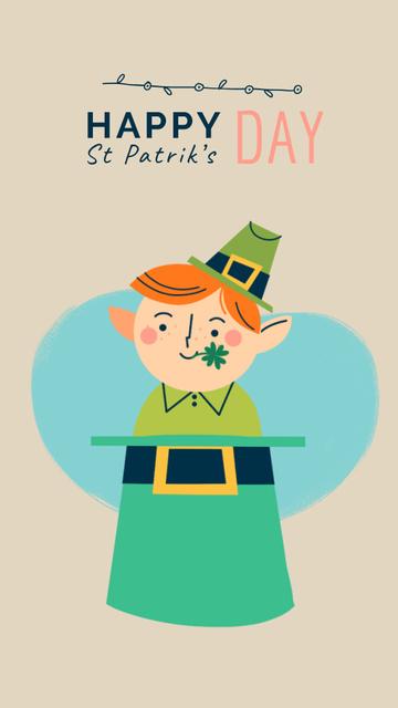 Plantilla de diseño de Saint Patrick's Day Leprechaun in Hat Instagram Video Story