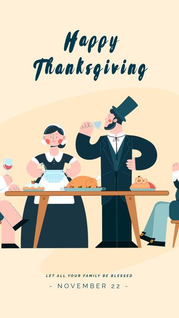 Template di design Pilgrims Having Thanksgiving Dinner Instagram Video Story