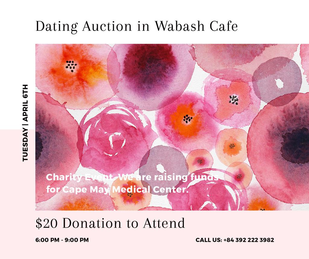Dating Auction announcement on pink watercolor Flowers — Crear un diseño